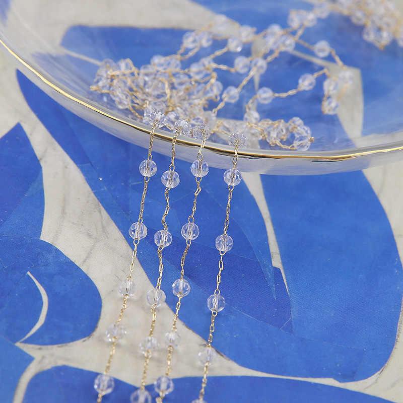 50 см ювелирные украшения сделай сам интимные аксессуары Аутентичные Золотой Гальванизированный жемчуг кристалл цепи серьги цепочки и ожерелья Браслет материал
