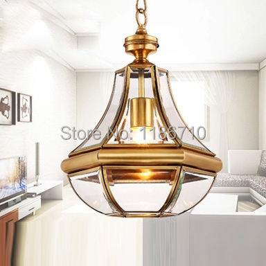 Factory direct sales of crystal chandelier copper lamp droplight American pastoral chandeliers and pendants and lanterns full copper lamps and lanterns of american meals hanging lamp act the role ofing porch corridor lamp
