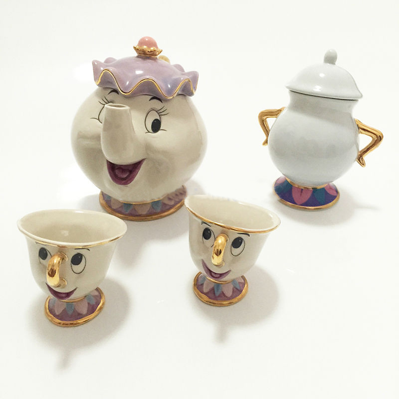 New Cartoon Beauty And The Beast Tea Set Mrs Potts Teapot Chip Cup Sugar Bowl Pot Set Coffee Kettle Birthday Xmas Gift