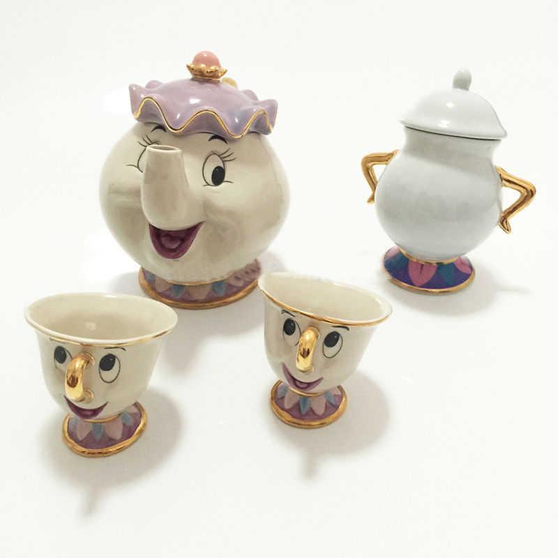 New Cartoon Beauty And The Beast Tea Set Mrs Potts Teapot Chip Cup Sugar Bowl Pot Set Coffee Kettle Birthday Xmas Gift