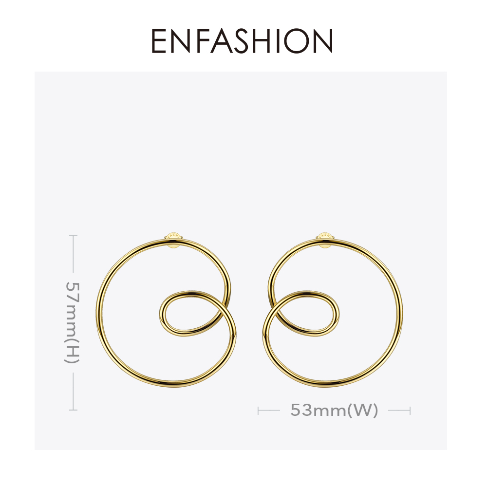 Image 4 - ENFASHION Wave Curve Drop Earrings For Women Gold Color Big Statement Accessories Loop Earings Fashion Jewelry Oorbellen EC1027Drop Earrings   -