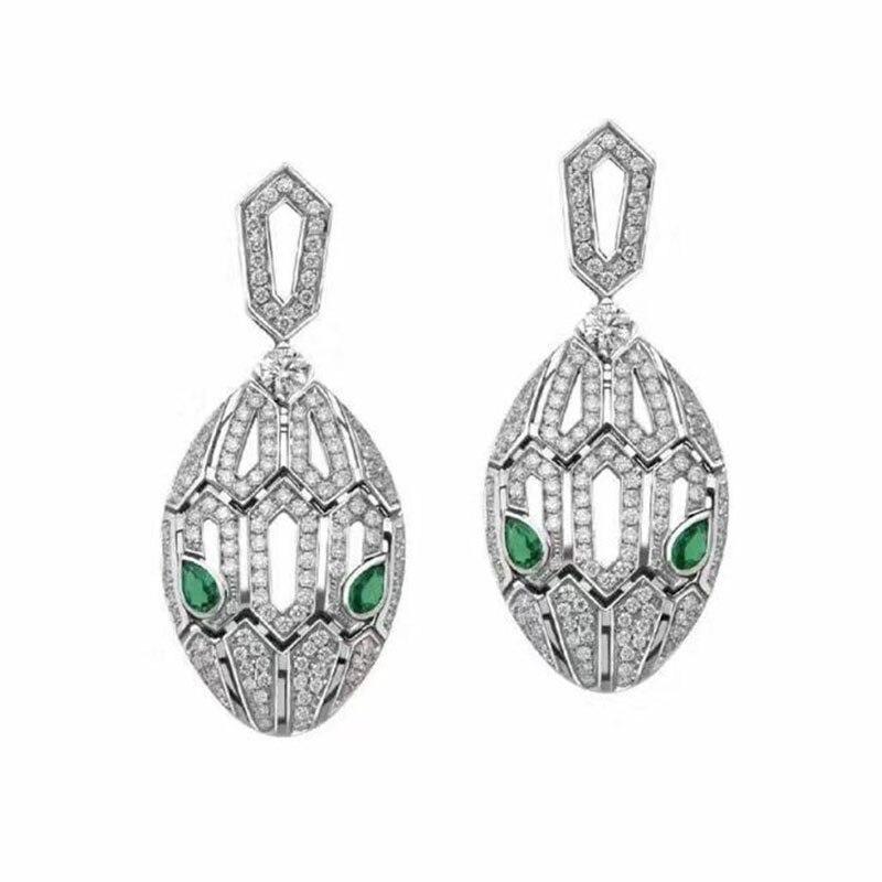 Qmarry À La Mode 925 En Argent Sterling Oeil Vert Serpent creux micro-incrusté de cristal boucles d'oreilles pour Femmes bijoux