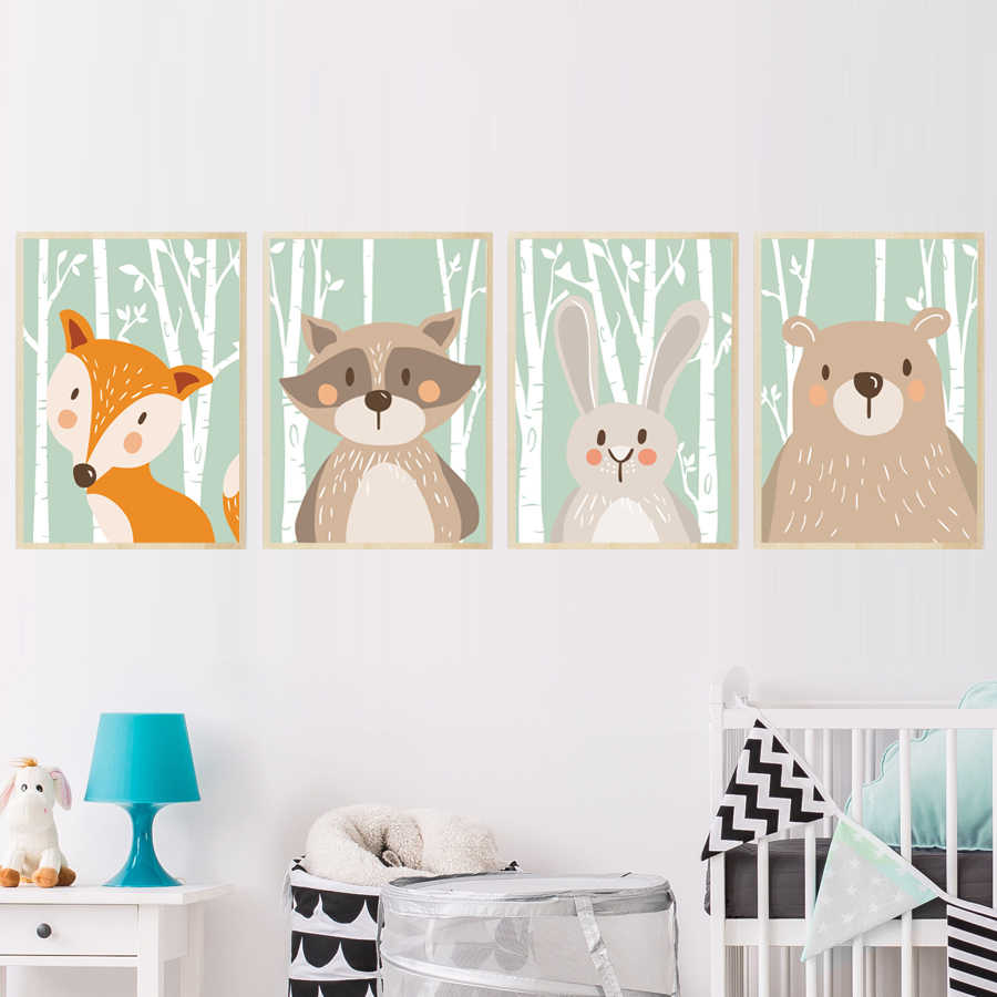 Forest Cute Animals Canvas Painting Art Print &Poster For Nursery Wall Picture Kids Baby Room Home Decor Fox Rabbit Bear Giraffe