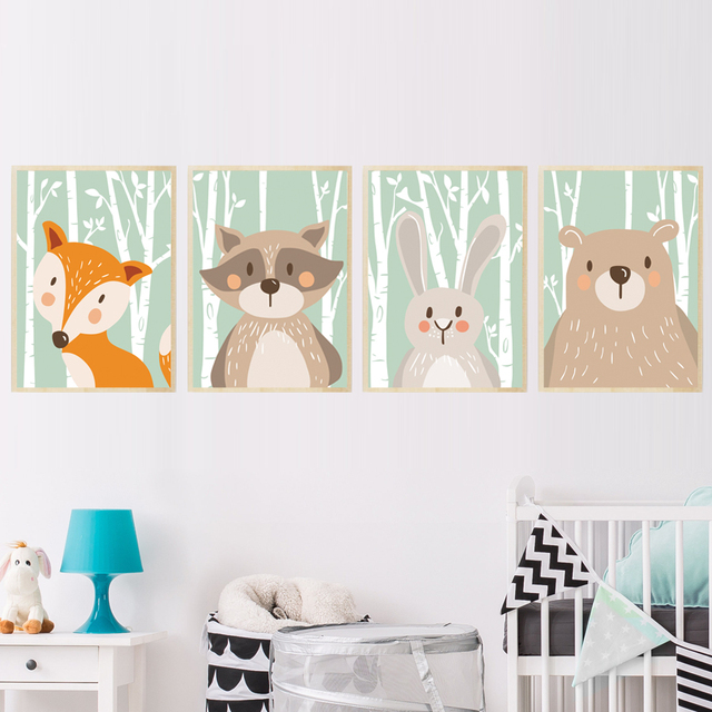 Forest Cute Animals Fox Rabbit Bear Giraffe Canvas Painting Art Print Poster Nursery Wall Picture Kids
