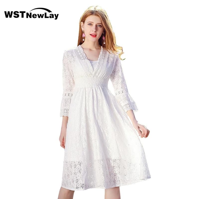 dd43514aa Casual Mujer Moda V Vestido Blanco Elegante Encaje 2019 De Largo En Cuello  Ropa Primavera Vestidos r57vqxr