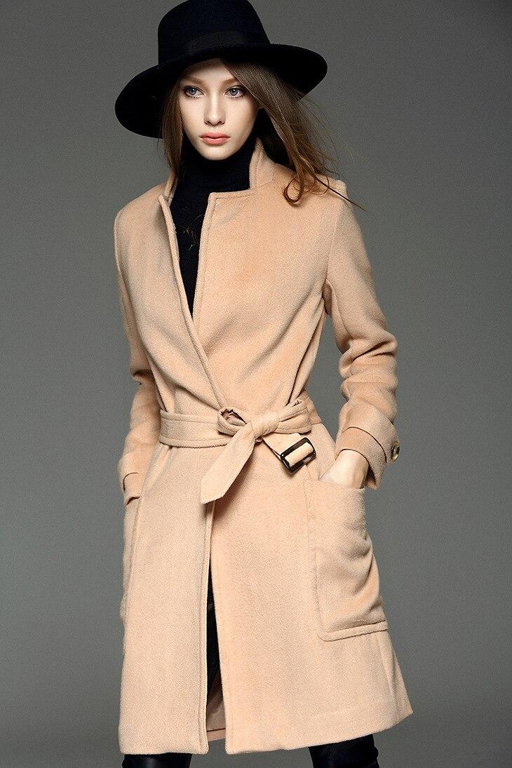 Haute qualité Plaine style trench manteau avec ceinture Femme classique  manteau de laine de chameau type lâche pardessus de cachemire de haute  qualité 2016
