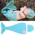 Bebé Manual de tejer Una Manta Ropa De Cama De Bebé Sirena Recién Nacido Swaddle Manta Alfombra Kids Bebé apoyos de la fotografía Sombrero Del Bebé
