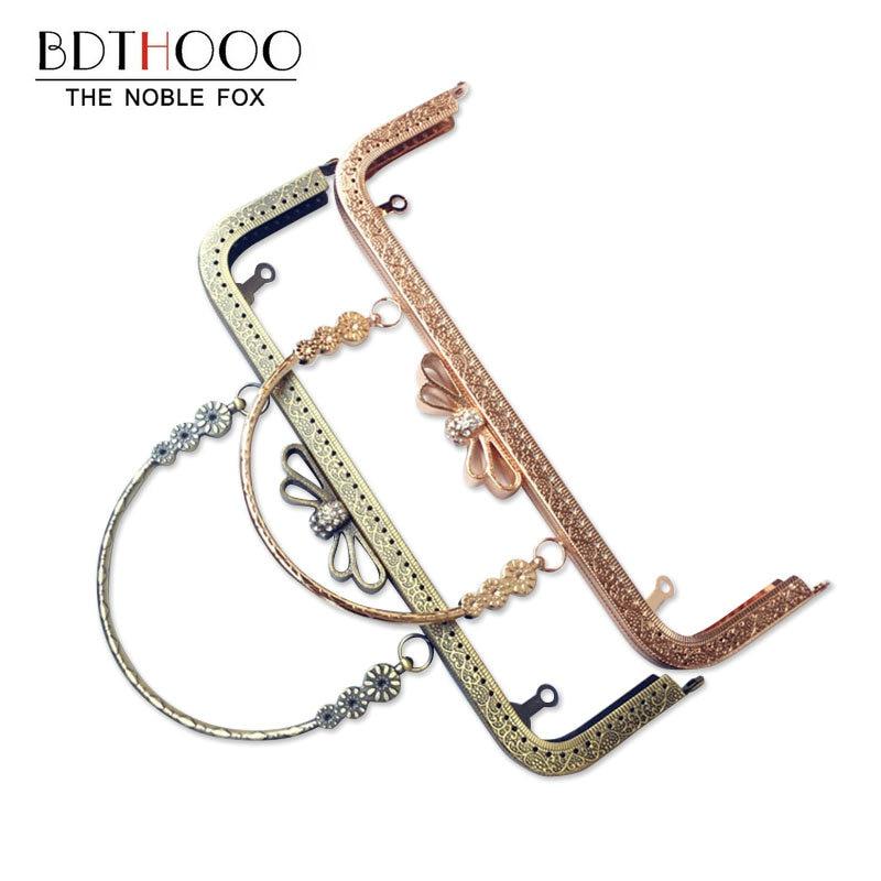 25cm Bag Accessories Metal Purse Frame Handle DIY Kiss Clasp Lock for Women Clutch Clasp Handbag Hardware Antique Diamond Handle metal decorations metal handle handbag hardware