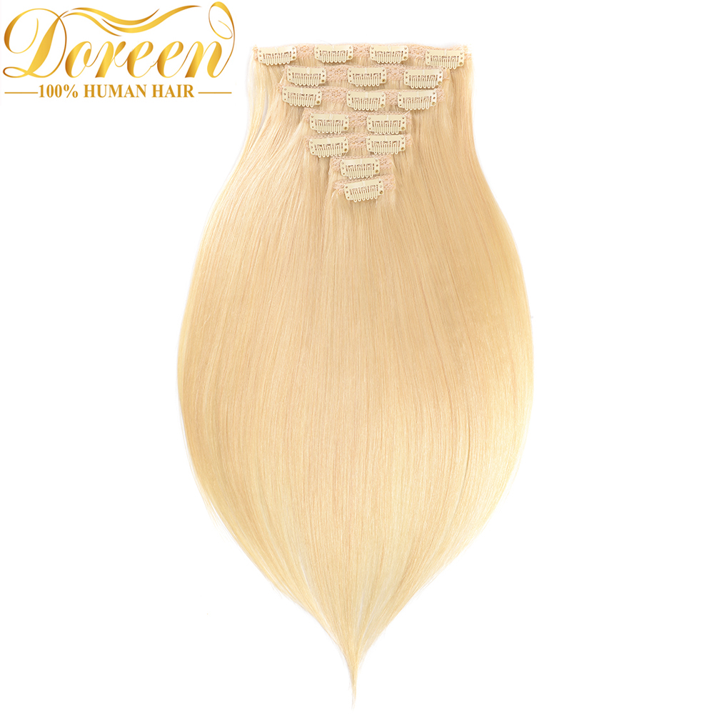 Doreen 613 Light Blonde Clip In Hair Extensions 90 220G Brazilian Machine Made Remy Clip Hair