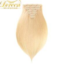 Дорин #613 светлый блондин клип в наращивание волос 90-220 г бразильский машина сделала Реми зажим для волос 100% Естественная прямая Человеческие волосы