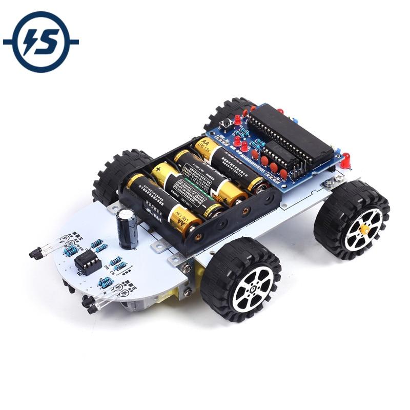 DIY Kit C51 Intelligent Vehicle Obstacle Avoidance Tracking Intelligent Car Kit Two Motor Drives Smart Vehicle Robot Car DIY Kit