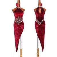 High Quality Latin Dancing Dresses For Ladies Burgundy Elegant Fringe Skirt Women Stage Ballroom Compete Feminine