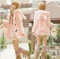 2014 Limitada Real Moda Longa e Cheia Sólida Treino Harajuku Hoodies Orelha de Coelho de Veludo Roupas Botão da Buzina Outerwear das Mulheres