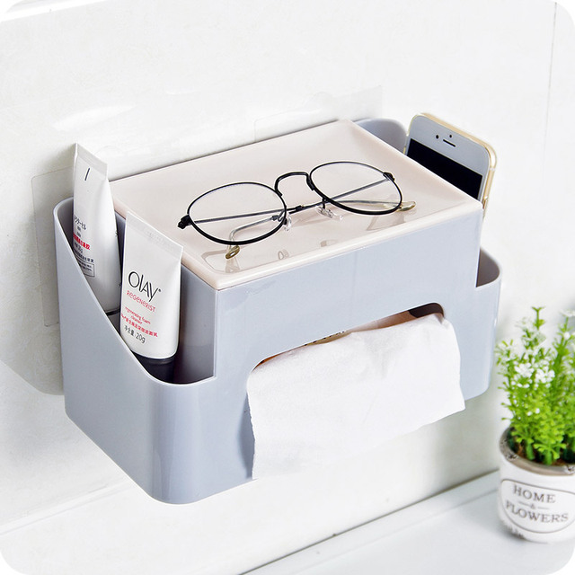 1pc Multifunctional Desktop Tissue Box Bathroom Wall Mounted Plastic Storage Household