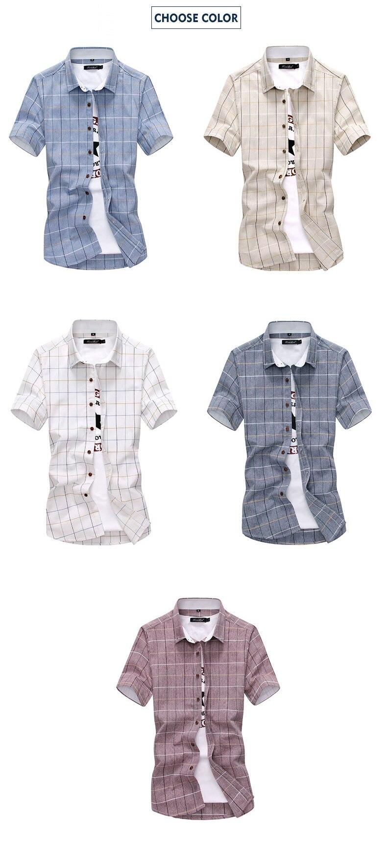 Plaid shirts Men 19 New Fashion 100% Cotton Short Sleeved Summer Casual Men Shirt camisa masculina Mens Dress Shirts 2