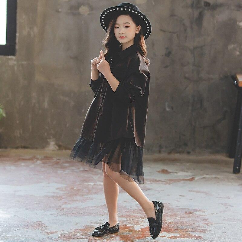 Girls Dress 2019 Autumn New Patchwork Mesh Dress Baby Princess Dress Children's Fashionable Personality Shirt Dress Loose,#5316