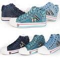Mulheres Plataformas de alta Altura Superior Sapatos Charme Ativo Respirável Denim Sapatos Para As Mulheres Da Lona Lace-Up Sapatas Do Crânio Senhoras