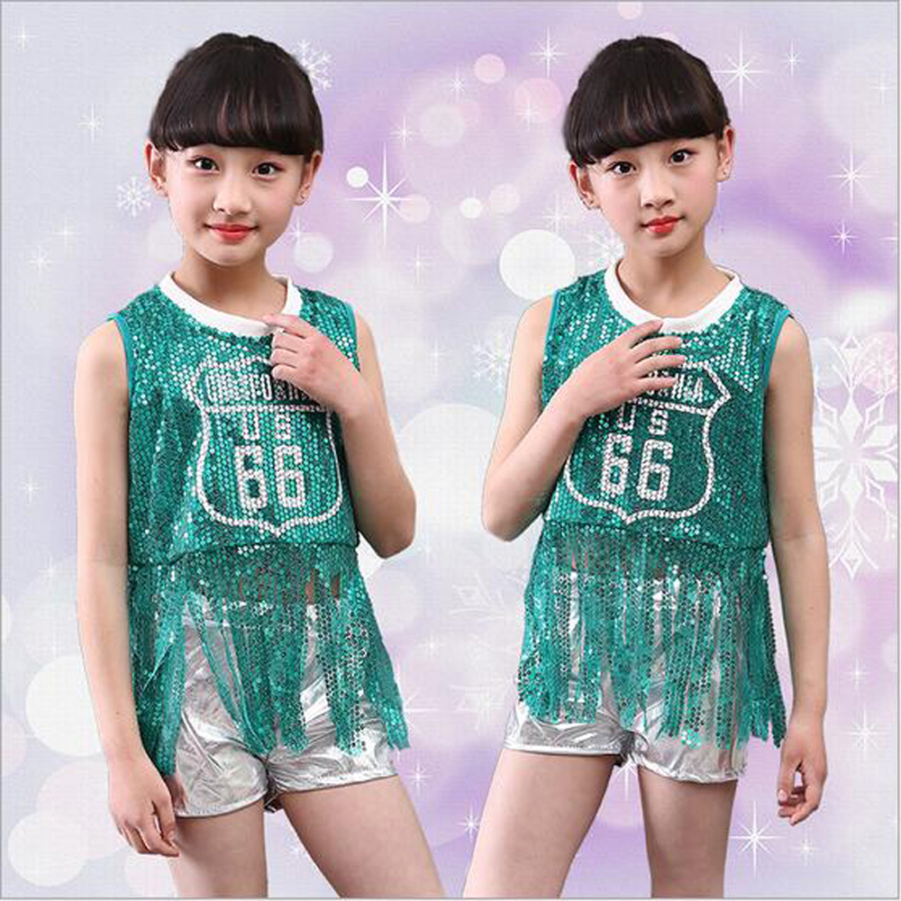 Children Ballroom Dance Costumes Sequined Jazz Dress for Girl Performance Clothing Suit Party Show Stage Wear for Hip-hop