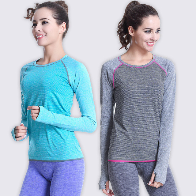 d1b0156ad4348 2016 Women Sportswear Exercise T-shirts GYM Training Fitness Tops Tee  Sports Running Yoga Clothing Clothes T Shirts Sweaters