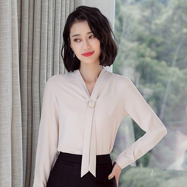 Blouses Manches Bureau rose Cravate Tops amp; Ol Chemises Style Work Blanc blanc Avec Beige Mode Dames Femmes Wear De Vêtements À Longues Femme wW8q1nw75c