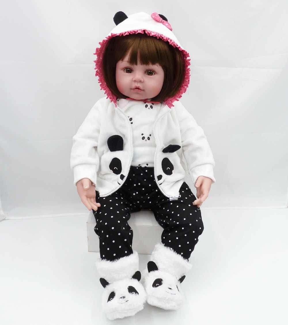 Bebes reborn puppe 47cm Baby mädchen Puppen weiche Silikon Boneca Reborn Brinquedos Bonecas kinder tag geschenke spielzeug bett zeit plamate