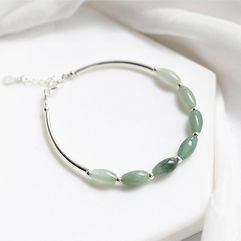 Натуральный камень зеленого нефрита 925 стерлингового серебра