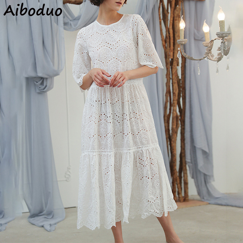 New 2019 Solid Cotton Korean Style White Long Dresses Women Short Sleeve Dress Loose Style Hollow Out Dress with Natural Waist