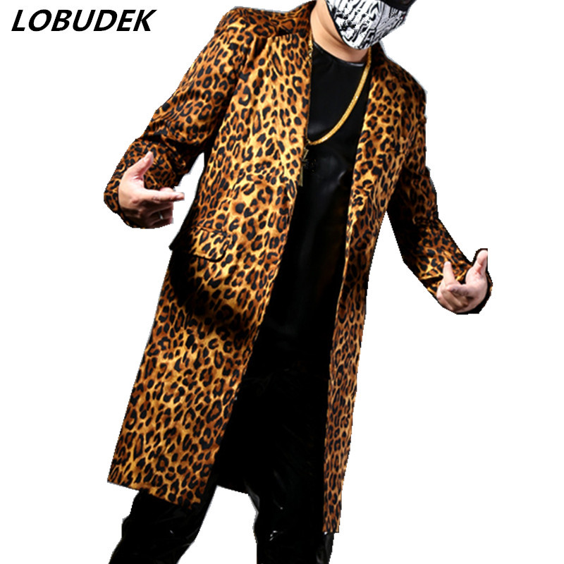 Long Leopard Male Suits Fashion Slim Blazers Casual Suit Tide Singer Vocal Concert Rock Hip Hop Punk Costume Bar Star Stage Wear