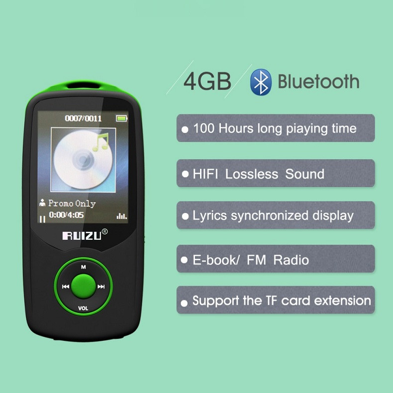 RUIZU X06 Bluetooth MP3 Player 4GB 100 Hours Lossless Sports MP3 music Player 1.8 Inch Screen FM TF Ebook Video Record Earphone (2)