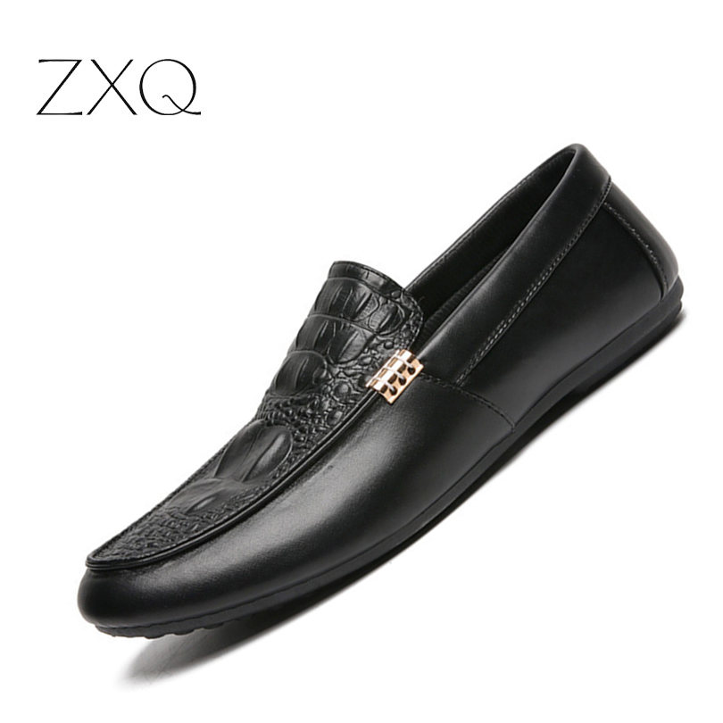 Men Summer Loafers 2018 Men Flat Shoes Artificial Leather Men Loafers Solid Black Breathable Slip-On Outdoor Men Driving Shoes