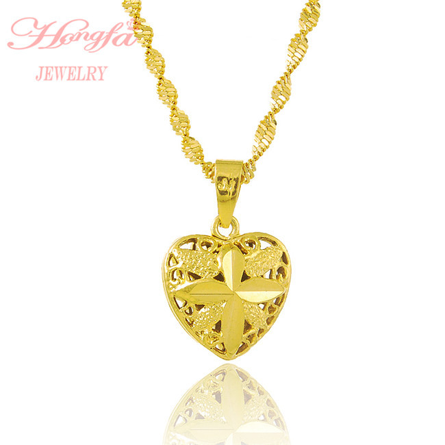 New arrival real 24k gold plated heart pendant necklace men women new arrival real 24k gold plated heart pendant necklace men women fashion yellow gold chain jewelry necklace free shipping jp021 in chain necklaces from aloadofball