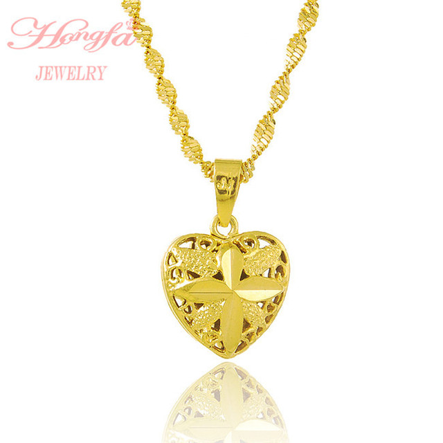 New arrival real 24k gold plated heart pendant necklace men women new arrival real 24k gold plated heart pendant necklace men women fashion yellow gold chain jewelry aloadofball Images