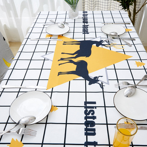 Image 3 - Parkshin Modern Cartoon Deer Tablecloth Home Kitchen Rectangle Decorative Table Cloths Party Banquet Dining Table Cover 4 Size