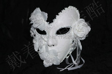 Handmade white masquerade masks lace floral decor glitter venice mask latex female mask party wedding mask