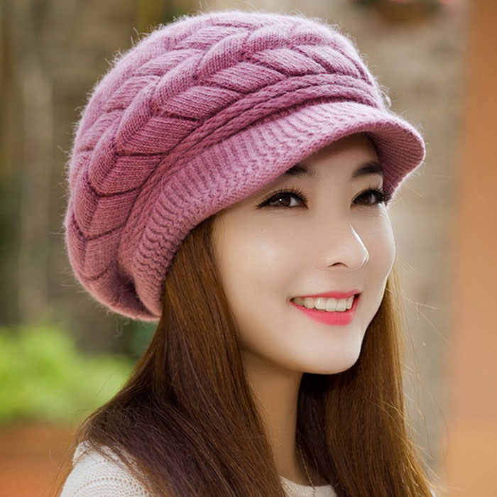e6854d37c9b ... Fashion New 2017 Winter Elegent Women Hat Warm Knitted Crochet Slouch  Baggy Beret Beanie Hat Cap ...