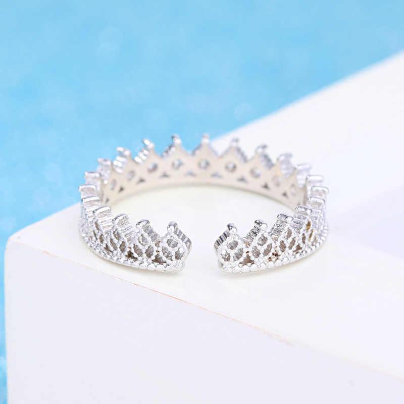 משובץ יוקרה AAA זירקון טבעת טמפרמנט נשים 925 סטרלינג תכשיטי כסף רומי כתר טבעות אופנה פשוט תכשיטים