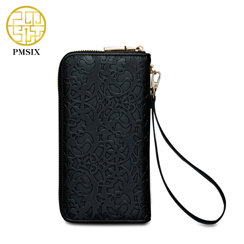 Pmsix New Fashion Women Wallet Brand Long Embossing Flower Design Woman PU Leather Wallets High Quality Female Purse Clutch Bag cossroll flower embossing women wallets and purses trifold hasp wallet female long design clutch women s purse monedero mujer