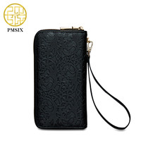 Pmsix Embossing Flower Ethnic PU Leather Women Wallet Purse Large Capacity Long Ladies Retro Clutch Money
