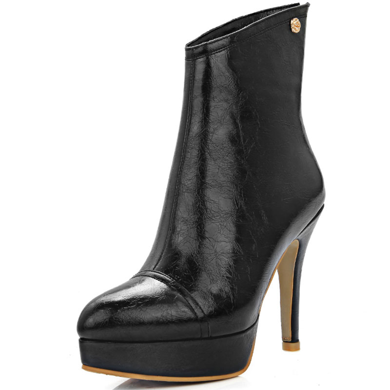 Stylish Women Ankle Boots Flock Round Toe Thin High Heels Boots Comfortable Shoes Woman Can be Customized Plus Size 32-46 XD757