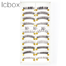 LCBOX 10 Pairs False Eyelashes Natural Black Long Thick Sparse Cross Lashes Fake Eye Lashes Extensions