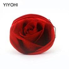 YIYOHI 3D Rose Flower Women Children Girls Cotton Coin Purses Holders Zipper Money Bag Pouch Kids Small Wallets Coin Bank Case