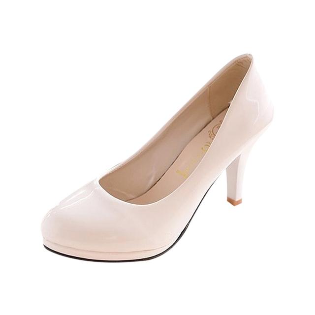 ASDS Clássico senhora do escritório Sexy plataforma Dedo Do Pé redondo Saltos baixos Bombas Sapatos de casamento Das Mulheres
