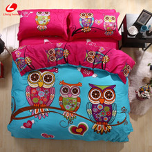 Lifeng Casa 2017 Búho ropa de cama set 3/4/6 unids Niños ropa de cama de Adultos rey funda nórdica juego de cama de algodón 100% cama de animales 3D conjunto