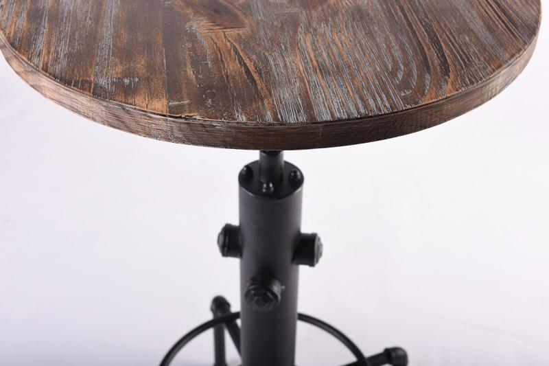 Rosso marrone industriale sgabello da bar solido di legno rotondo