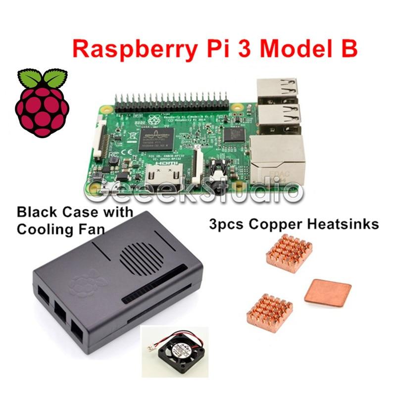 2016 Original Raspberry Pi 3 Model B 1GB RAM Quad Core WiFi & Bluetooth with ABS Black Case + Cooling Fan + Copper Heatsinks