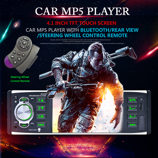 4.1 Inch Touch Screen Car MP5 Player Bluetooth Auto Stereo FM Radio Car Media Player Remote Control Support Rear View Camera