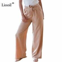 Liooil 2018 Fashion Summer Solid Casual nadrág Zipper Sashes széles lábszárú nadrág Női hosszú laza Boho Khaki nadrág