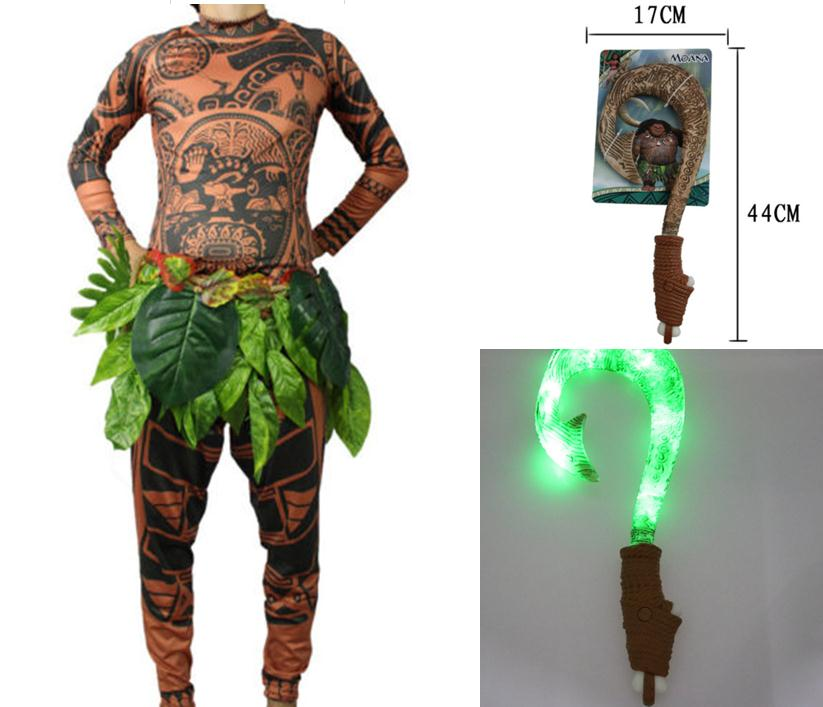 Kid Adult Maui Cosplay Costumes Tattoo Top Pants Leaves Belt Vocal Shiny Hook  Halloween Moana Cos Carnival Disguisement
