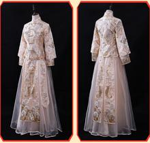 Chinese Wedding dress bride evening cheongsam summer Champagne chinese style design show clothes pratensis Qipao Dress