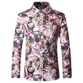 2016 New Printed Men Shirts Autumn Fashion Casual Designer Brand Flower Chemise Homme T0070